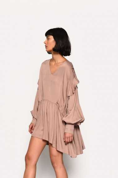 Oversized Dress with Ruffle Sleeves Detail