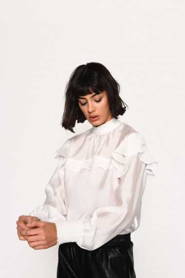 High Neck Blouse With Frill Details