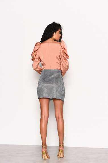 Drape Shoulder Detail Top - Peach