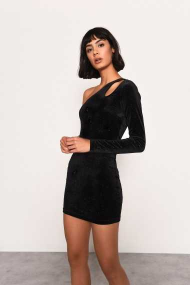Velvet One Shoulder Mini Dress