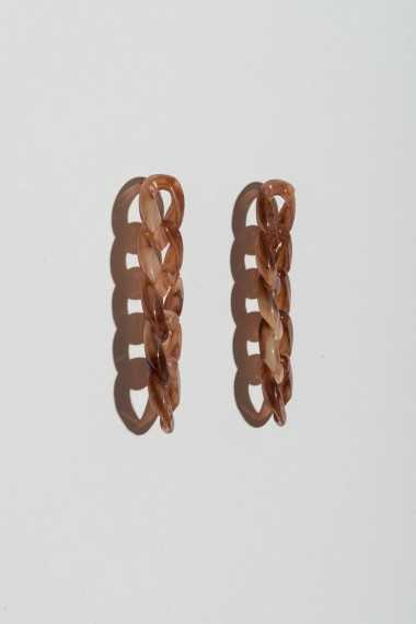 Drop Earrings in Chain Detail - Tortoiseshell