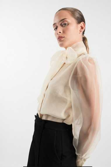 Organza Transparent Sleeves Shirt