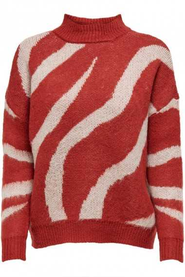 Patterned Knitted Pullover - Red