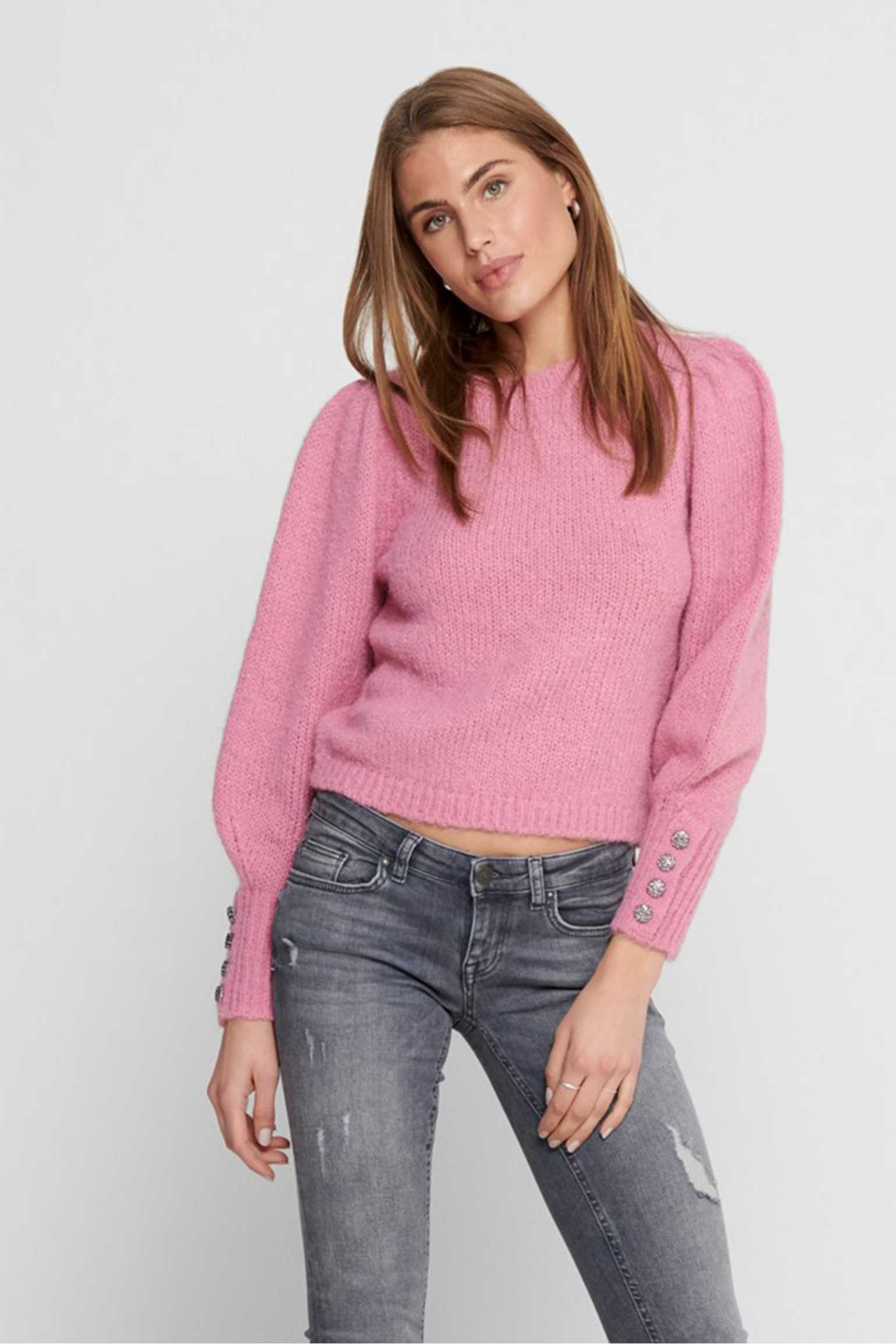 Solid Colored Knitted Pullover - Pink