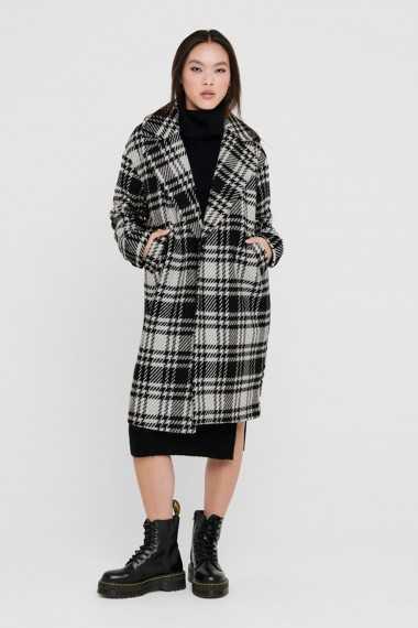 Long Checked Wool Coat