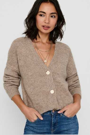 V Neck Cardigan with Gold Buttons - Beige