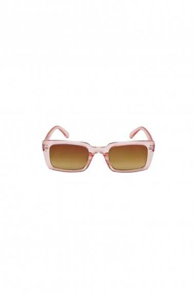 Square Sunglasses with Pink Clear Frame and Ombre Lens
