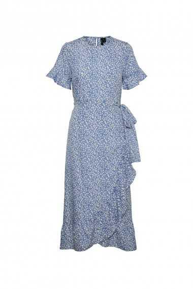 Frill Detail Midi Dress in Blue Spot