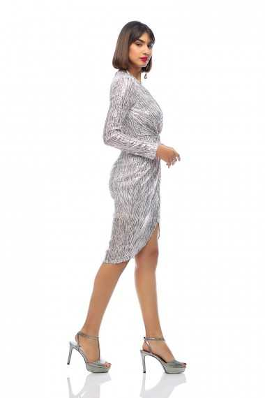 Elaine Sequin Wrap Midi Dress