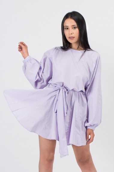 Robe Courte en Coton Biologique Nouée à la Taille